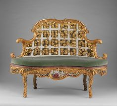 Settee  --  Circa 1763-64  --  German, Wurzburg  --  Carved, painted & gilded limewood; squab pillow in silk velvet  --  The Metropolitan Museum of Art