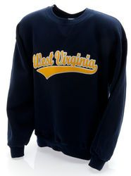 West Virginia Embroidered Hooded Sweatshirt Navy Swoop - www.WVUClothes.com