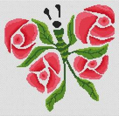 White Willow Stitching Rose Wings - Cross Stitch Pattern. Model stitched on fabric of your choice with DMC floss. Stitch Count: 126 x 123. Designed by Jamie Lar