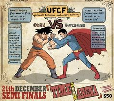 UFCF: Ultimate Fictional Characters Fighting by Filipe Capra.  I'd totally pay 50 bucks to see Goku and Superman duke it out. ;)