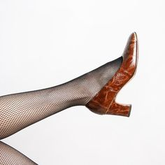 Vintage 1940s Heels  Frank More Caramel Brown Reptile by zwzzy, $48.00