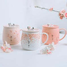 New Japanese Cherry Blossoms Ceramics Mugs Cute Cat Coffee Cups Breakfast Milk Tea Mug For Creative Gift Cup with Lid