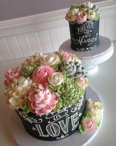 Some chalkboard beauties for a wedding shower! #whiteflowercakeshoppe #instacake #cakeoftheday #cakestagram #cakedecorating…