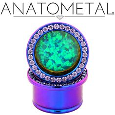"3/4"" Super Gemmed Eyelets in ASTM F-136 titanium, anodized blurple; synthetic Amethyst, synthetic Opal #11 gems"