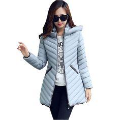 Cheap Wadded mujer chaqueta de invierno 2015 chaqueta con capucha de down parka…