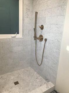 White Subway Tile Shower, Gray Shower Tile, Subway Tile Showers, Shower Floor Tile, Shower Wall Panels, Marble Showers, Bathroom Tile Showers, Tiled Showers, Tile Walk In Shower