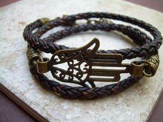 Hamsa Triple Wrap Leather  Bracelet by UrbanSurvivalGearUSA