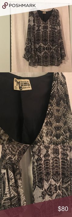 Show me your Mumu 🌼 Blouse NEW Shirt comes in classic black and white snakeskin print that goes with EVERYTHING. Blouse features stylish bell sleeves. Super cute, never worn. Show Me Your MuMu Tops Blouses