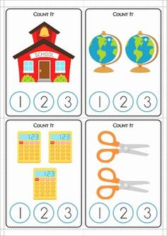 Kindergarten Math Centers - Back to School. 116 pages. A page from the unit: Count and Clip