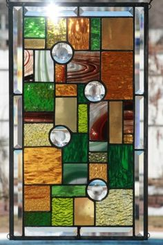 Greens and Ambers Stained Glass Window Panel