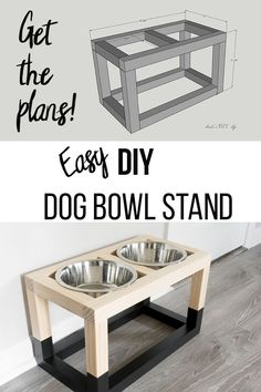 Learn how to build a DIY raised dog bowl stand with a simple and modern design. The free raised dog bowl stand plans show you how to build it in under 5