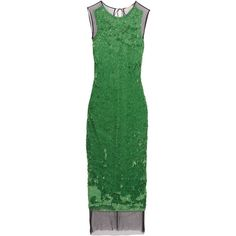 Emilio Pucci Sequined tulle maxi dress (€710) ❤ liked on Polyvore featuring dresses, green, keyhole maxi dress, embellished cocktail dress, green maxi dress, sequin dress and tulle cocktail dresses