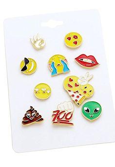 Rosemarie Collections Emoji Theme Enamel Trading Pin (Set of 10)
