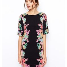 Asos mirror floral dress Shift dress by Asos. Vibrant neon floral print. V back but you can wear it forwards or backwards for two different looks ASOS Dresses