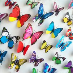 Cheap 12 Pieces Package PVC 3D Sticker Pattern Butterfly For Wall Cute Home Decoration Beautify Adesivos Decorativos Decals