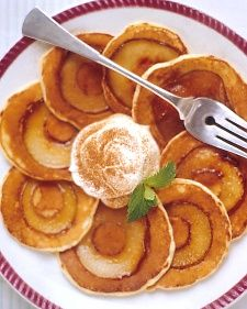 SILVER DOLLAR PEAR PANCKES  Ingredients    4 Bosc or Bartlett pears  3 tablespoons pure maple syrup, plus more for drizzling  3/4 teaspoon ground cinnamon  1/2 teaspoon unsalted butter  Best Buttermilk Pancakes Best Buttermilk Pancakes, batter  Sour cream, for garnish