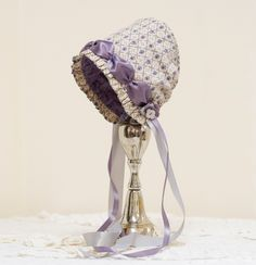 Lavender-Rose baby bonnet -- infant.  photo prop. baby hat. Easter bonnet. prairie bonnet. child. shower.gift. purple. grey.vintage feel.. $36.00, via Etsy.