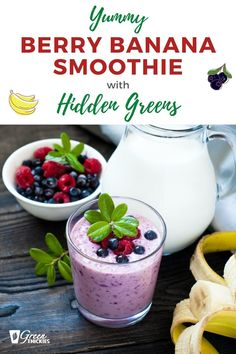 A blueberry and banana green smoothie that you wont believe actually has greens in it. Perfect for picky kids as well as the blueberries make it nice and purple. Banana Berry Smoothie, Berry Smoothie Recipe, Green Smoothie Cleanse, Kiwi Smoothie, Fruit Smoothie Recipes, Easy Smoothies, Green Smoothies, Smoothie Diet, Raw Vegan Recipes