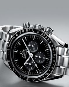 Omega speedmaster moonwatch black dial steel bracelet men's watch