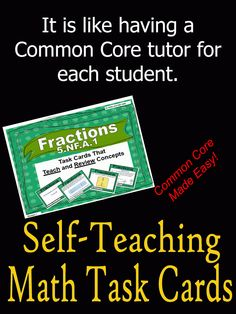 76 self-teaching math task cards that TEACH and REVIEW Common Core Standard 5.NF.A.1.  Plus it comes with a printable box to make storage convenient.  Place a box of task cards in a math center station.  Send home a box with a student that needs extra review. Follow this link for additional self-teaching math task cards that cover a variety of topics. ~Common Core Made Easier~