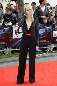 Emma Stone at The Amazing Spider-Man - UK Premiere. LOVE this pantsuit.