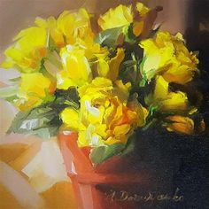 """Daily Paintworks - """"Yellow roses"""" - Original Fine Art for Sale - © Natali Derevyanko"""
