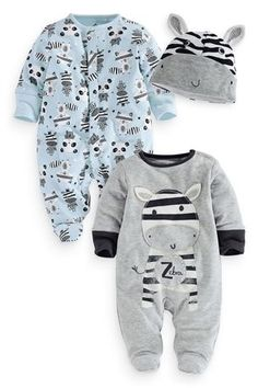 Zebra Sleepsuits Two Pack With Hat (0mths-2yrs)