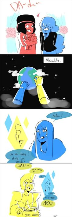 Blue and Yellow dianonds are coming to the crystal gems and cluster but Yellow Diamond is inlove to the weddings TwT but where did she get the icecream anyway -_-