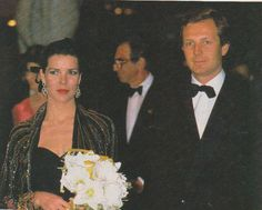 Beautiful Princess Caroline of Monaco with the love of her life Handsome Stefano Casiraghi.  1980s.