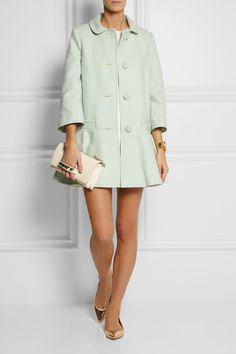RED Valentino | Cotton-blend coat | Gianvito Rossi | Metallic leather point-toe flats | Valentino | Va Va Voom leather shoulder bag