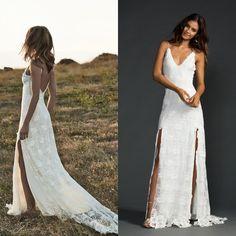 4ef94ef4dfe7 Vintage Boho Wedding Dress 2015 With Sexy Spaghetti Straps V Neck Stunning  Backless High Side Slit