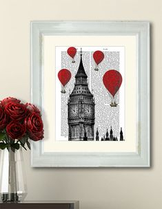 Red Hot Air Balloons Over Big Ben London British Print London Print Home Office Decor