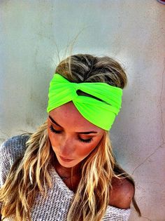 Neon Fluorescent Green Turban Stretch Headband  by ThreeBirdNest, $18.00