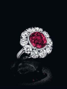 """The Pride of Burma,"" a cushion shaped Burmese ruby and diamond ring Ruby Jewelry, Gems Jewelry, Diamond Jewelry, Fine Jewelry, Ruby Diamond Rings, Jewellery, Ruby Rings, Diamond Flower, Jewelry"
