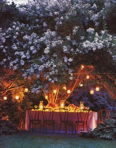Taking Our Dining Rooms Outdoors -Al Fresco Dining! Our picks of some beautiful and fun al fresco dining settings. Outdoor Light Fixtures, Outdoor Lighting, Backyard Lighting, Tree Lighting, Landscape Lighting, Fresco, Magic Garden, Dream Garden, We Are The World