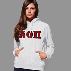 Alpha Omicron Pi Hooded Sweatshirt - Gildan 18500 - TWILL