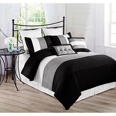 Chic Home Bryce King Comforter Set In Black - Give your master bedroom a complete makeover with this luxurious Bryce Comforter Set from Chic Home. The stylish bedding is graced with detailed embroidery that brings an elegant touch to your bedroom décor. Black Comforter, King Comforter Sets, Duvet Sets, Daybed Comforter, Yellow Bedding, King Duvet, Queen Duvet, White Bedding, Bed Sets