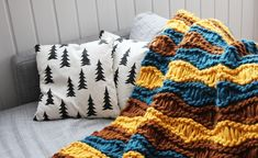 Like Breezy Baby Blanket, but the pattern is slightly different to account for the thicker yarn.