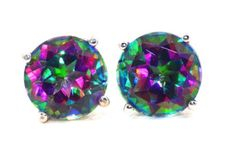 4 Carat Natural Mystic Topaz Stud Earrings 925 Sterling Silver Rhodium Finish ** To view further for this item, visit the image link.(This is an Amazon affiliate link and I receive a commission for the sales)