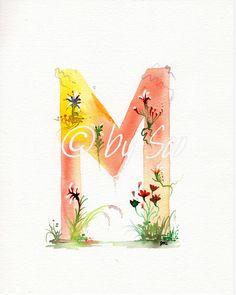 Stampa lettera M acquerello monogramma