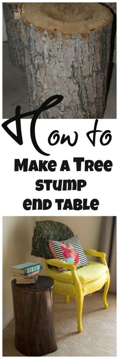 How to make an end table out of a tree stump. Decorating with nature, free!