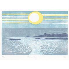 Adrienne O'laughlin: Eigg Sun, Hand printed, Limited Edition Woodcut