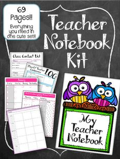 This Teacher Notebook Kit has everything you need to make a complete OWL teachers notebook! EVERYTHING you need grade book, lesson plan, contact list. And more!! All in one cute notebook.  I use mine in an Arc Notebook system (from staples)... but you can also print these pages and have them spiral bound at an office supply store or even just hole punch them and put them in a binder or notebook.
