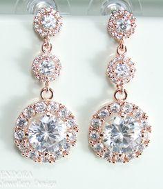 Bridal earrings | Rose gold earrings | Rose gold wedding | #EndoraJewellery