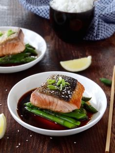 This crispy skin salmon with soy and lemon is ready in 15 minutes - real fast food! | Plus Ate Six