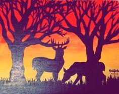 Hand-painted Deer in Sunset Canvas by OwlGirlArtByAmanda on Etsy
