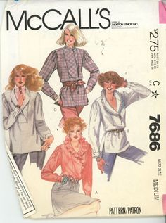 1980s Blouse Shawl Collar Set McCall's Pattern 7686 Uncut Size 14-16 - Women