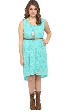 Deb Shops Plus Size Lace High Low Dress with Faux Leather Belt $19.95