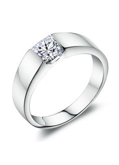 925 Silver Simple Engagement Ring Inlaid With Square Rhinestone #jewelry www.BlueRainbowDesign.com