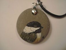 Necklace - Chickadee Portrait hand painted on a rock by Ann Kelly.